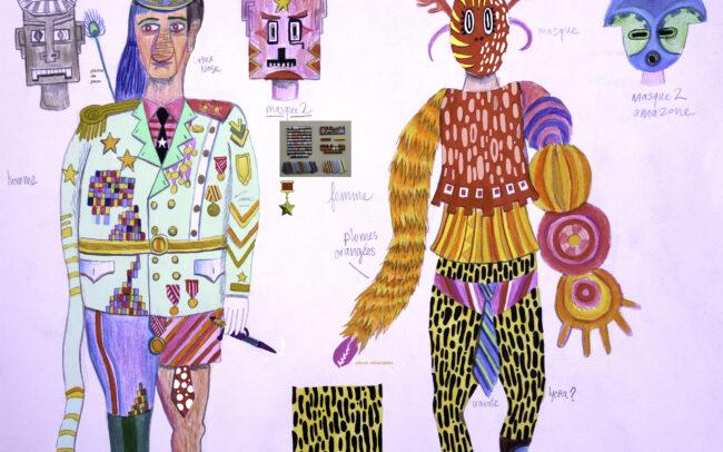 Esquisse pour des costumes (Transsibérien)