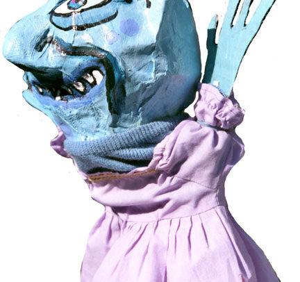 Le diable (marionnette à gaine) vue de côté
