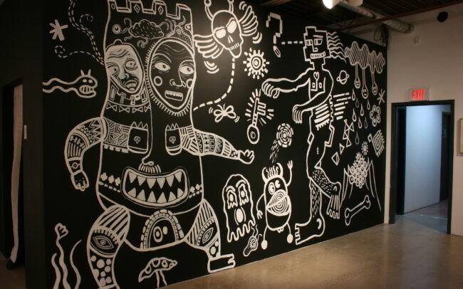 Vue d'une murale dans l' exposition Psychedada à la galerie AKA