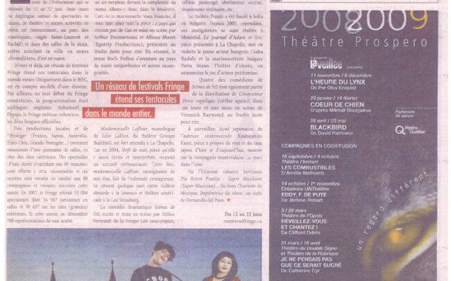 Article au sujet du Festival Fringe de Montréal (2008)